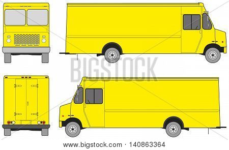 Step van outlines for design. Four projections: front, back and sides