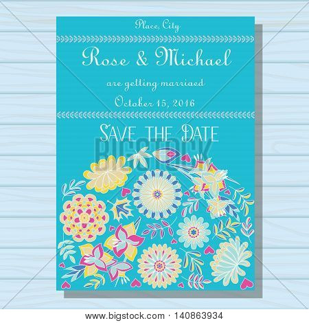 Vector autumn wedding invitation blue on wooden background