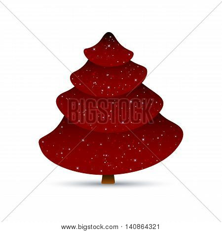 Vector Illustration of a Red Christmas Tree