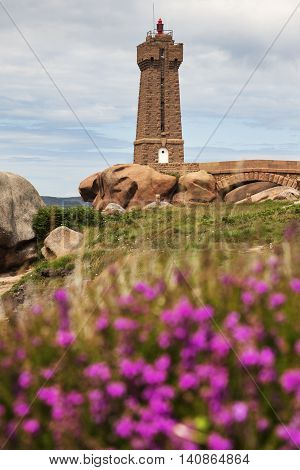 Ploumanach Lighthouse with the flowers. Perros-Guirec Brittany France