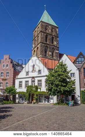 RHEINE, GERMANY - JULY 19, 2016: Central market square in historical city Rheine, Germany