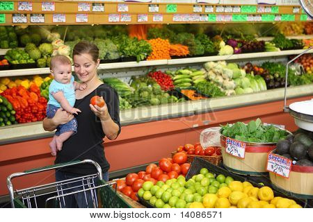 Woman and baby in grocery store