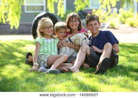 Group of kids wit dog poster