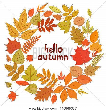 Round frame with leaves. Hello autumn background. Vector stock illustration.