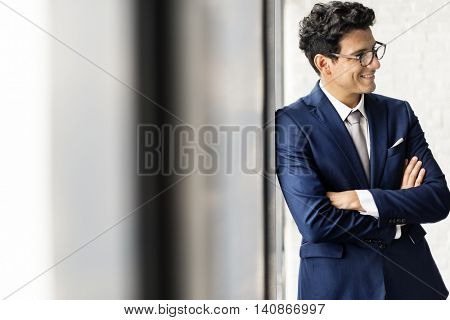 Businessman Office Worker Smiling Handsome Concept