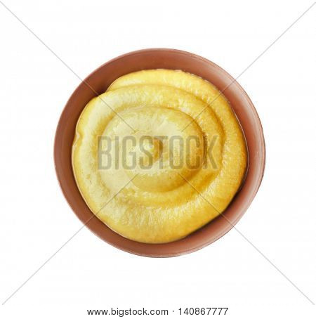 Fresh mustard isolated on white
