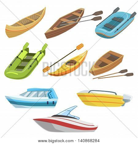 Different Types Of Boats Colorful Set Of Simple Childish Flat Illustrations Isolated On White Background
