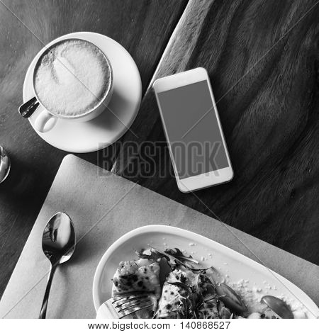 Eating Food Chicken Tomatoes Coffee Concept