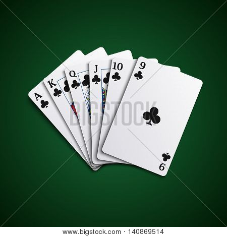 Poker cards flush acorns hand vector eps 10