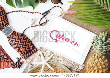 Summer Beach Girl Power Concept