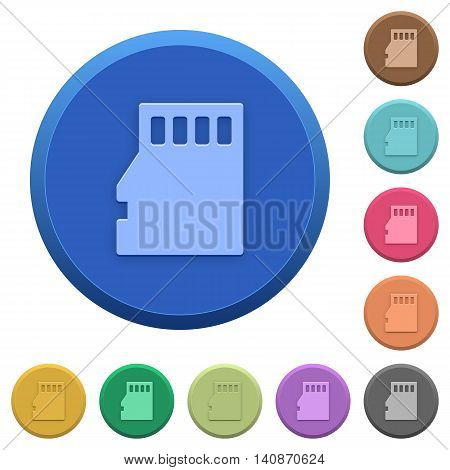 Set of round color embossed micro SD memory card buttons poster
