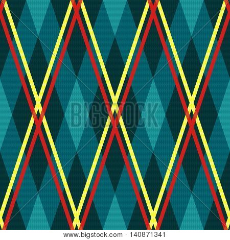 Rhombic Seamless Fabric Pattern Mainly In Turquoise