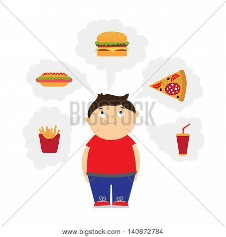 Smiling chubby kid dreaming of fast food. Boy with overweight. Isolated cartoon character. Wish in clouds.