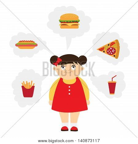 Smiling chubby kid dreaming of fast food. Girl with overweight. Isolated cartoon character. Wish in clouds.