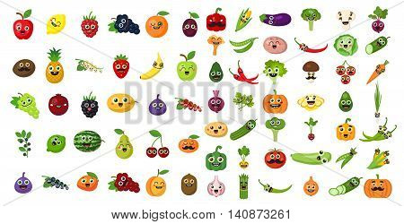 Vegetables and fruits face set. Funny cartoon faces. For avatar, sticker, children's menu and more.