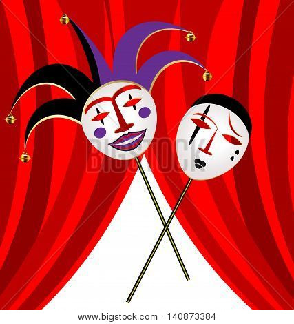 abstract background and red velum with two masks clown - funny and sad