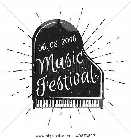 Music festival. Musical instrument piano. Vector illustration. Jazz music festival, poster background template. Music piano keyboard. Can be used as poster