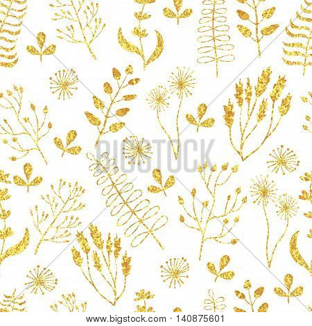 Vector golden seamless pattern. Floral texture with hand drawn flowers, plants and leaves. Glittering gold background.