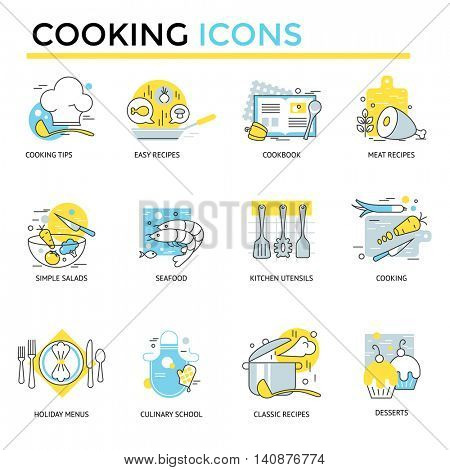 Cooking icons, thin line flat design