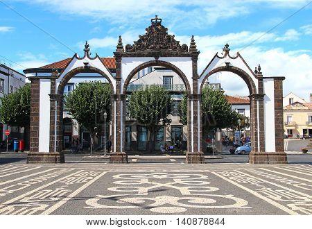 PONTA DELGADA, AZORES, PORTUGAL - SEPTEMBER 29, 2015: Portas da Cidade (Gates to the City) - historic entrance to the town of Ponta Delgada on Sao Miguel island, Azores