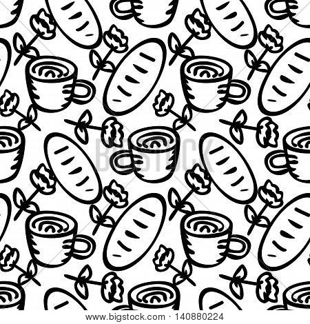 Seamless pattern with hand drawn cups and bread