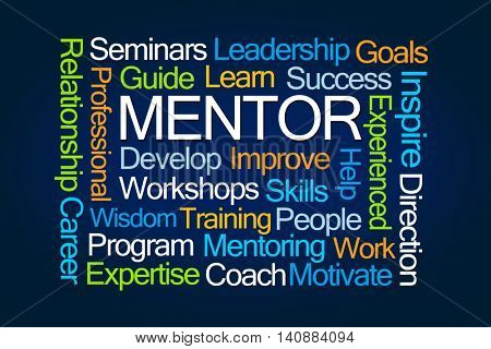 Mentor Word Cloud on Blue Background