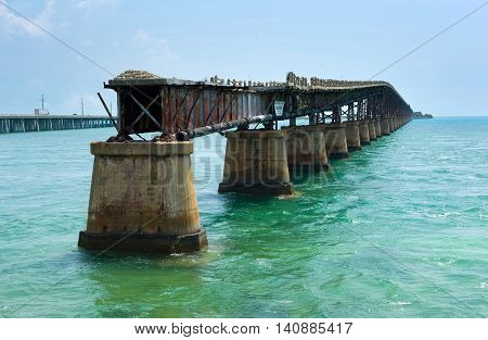 The Old Bahia Honda Rail Bridge at Bahia Bay State Park on the Florida Keys
