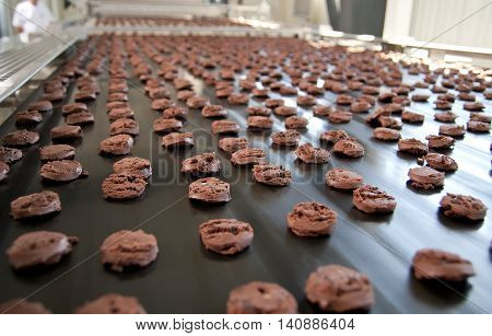 Production line of baking chocolate cookies, close up