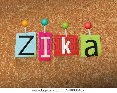 The word Zika written in pinned ransom note letters on a corkboard illustration. Vector EPS 10 available.