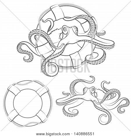 Octopus in a life buoy. Vector isolated objects on a white background.