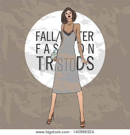 illustration with fashionable girl. shopping. fashion illustration. fashion banner.collage. Street fashion. new trends fall winter