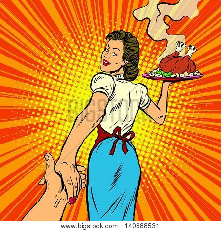 follow me, the restaurant and delicious homemade food pop art retro vector illustration. A housewife and a Turkey for Thanksgiving and Christmas