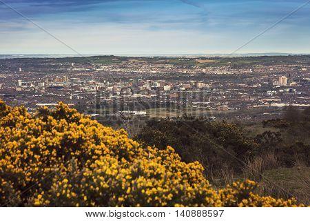 Aerial panorama of Belfast. Belfast Northern Ireland United Kingdom.
