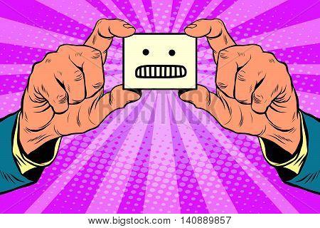 anger face in hands, pop art retro vector illustration
