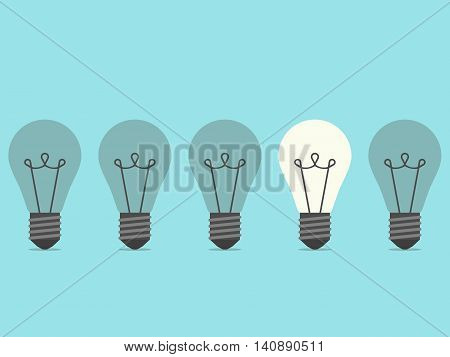 Row of five lightbulbs with one burning on blue background. Inspiration discovery idea and insight concept. Flat design. Vector illustration. EPS 8 no transparency
