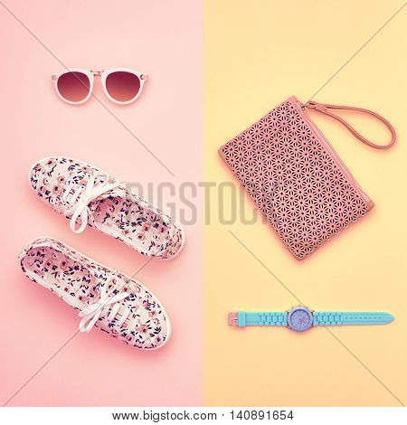Fashion. Clothes Accessories fashion Summer Set. Stylish woman Gumshoes, accessories, Glamor Sunglasses, Trendy Wrist Watches. Summer fashion Outfit, accessories. Essentials, fashion Overhead. Minimal