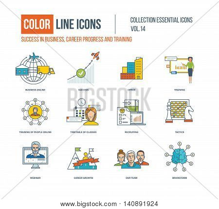 Color thin Line icons set. Success in business, career progress, business online, office, recruiting, webinar, career growth, our team, brainshtorm, timetable of classes. Colorful logo and pictograms