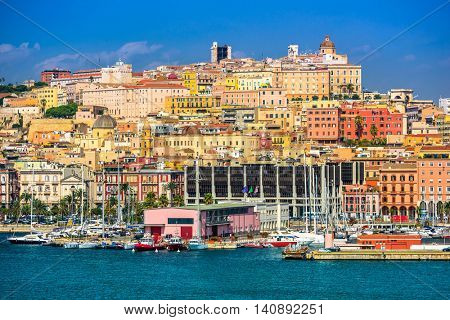Cagliari, Sardinia, Italy coastal skyline on the Mediterranean Sea.