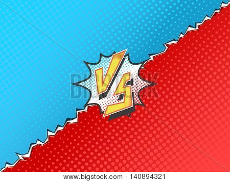 Versus letters fight backgrounds comics book superhero. Vector illustration