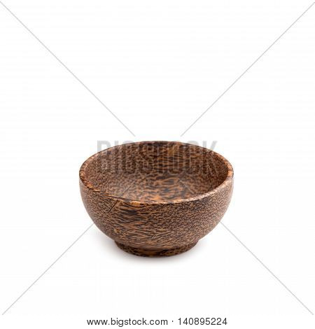 Empty Brown Wooden Bowl Made From Plam Wood Isolated On White