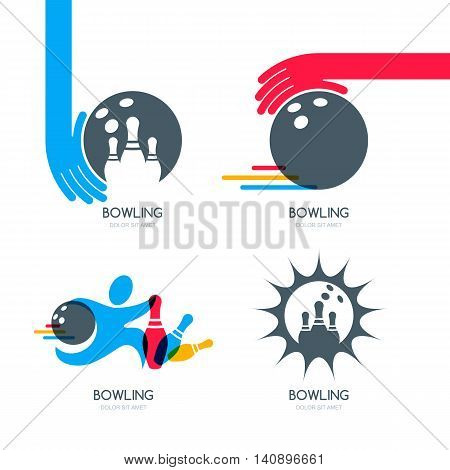 Set Of Vector Colorful Bowling Logo, Icons And Symbol. Bowling Ball, Bowling Pins And Shoes Illustra
