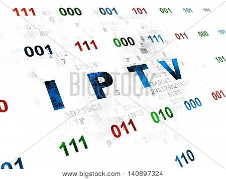 Web design concept: Pixelated blue text IPTV on Digital wall background with Binary Code