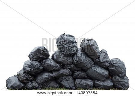 Pile Of Black Garbage Bag Isolated On White. Saved With Clipping Path