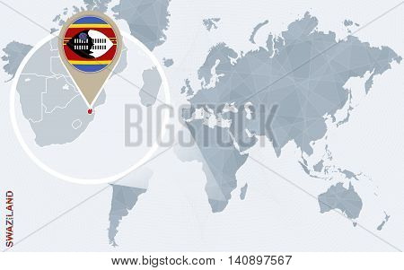 Abstract Blue World Map With Magnified Swaziland.