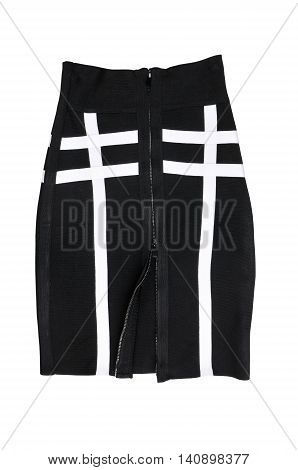 black skirt with a zipper from top to down isolated over white