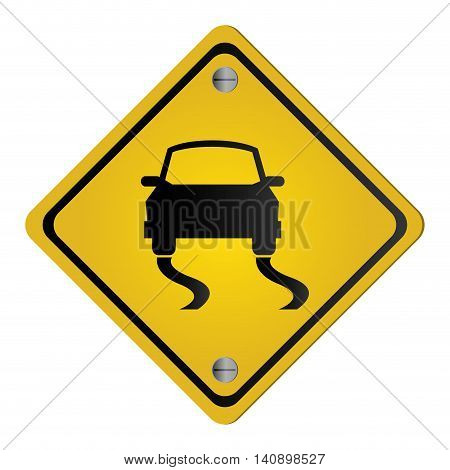 flat design slippery traffic sign icon vector illustration