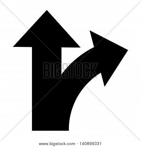 flat design bifurcation traffic sign icon vector illustration