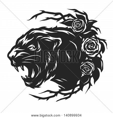 The head of a black panther and roses. Vector illustration.