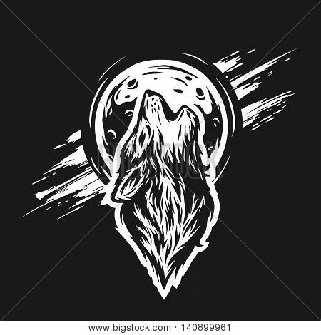 The head of a wolf on the moon background in grunge style. For a dark background.