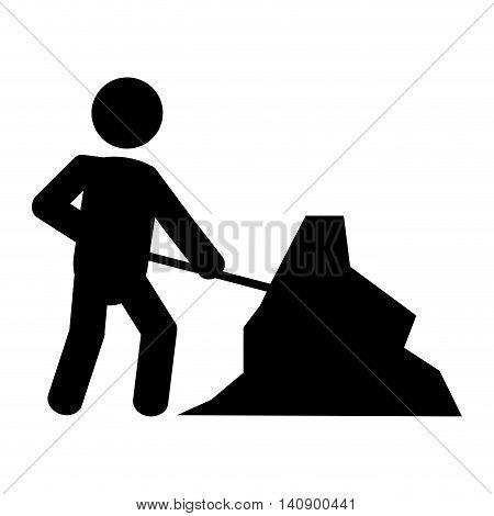 flat design men at work traffic sign icon vector illustration
